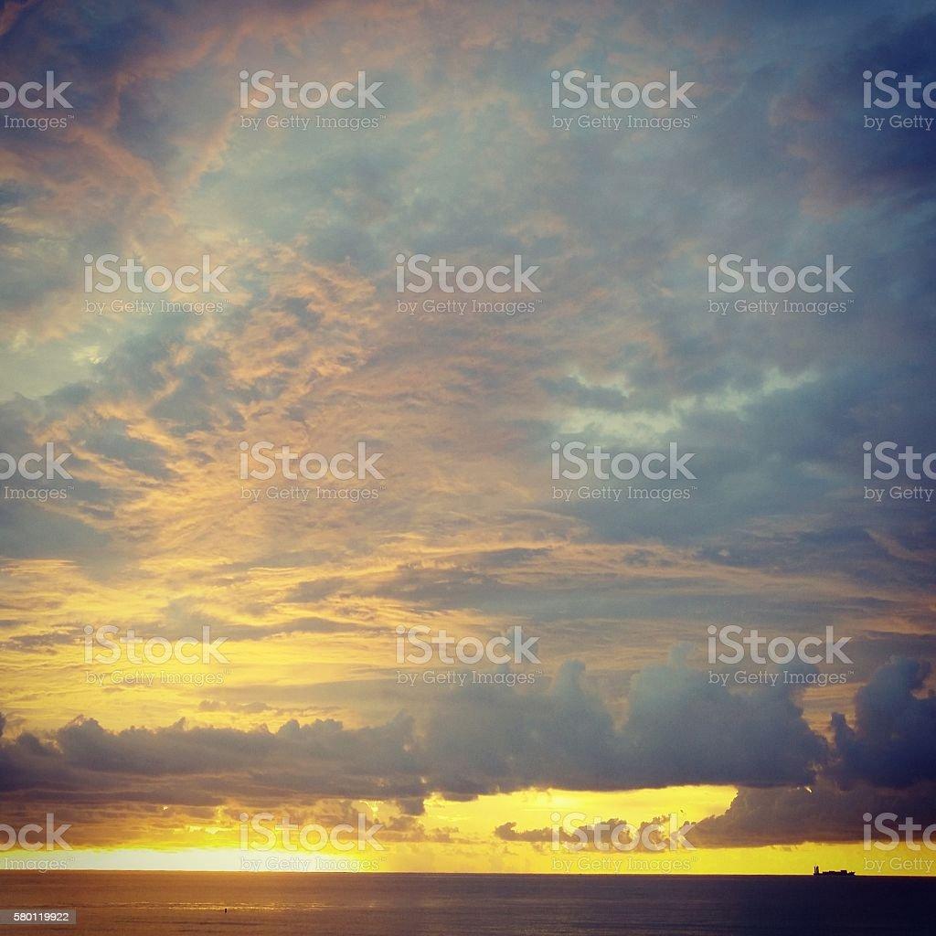 Miami South Beach Sunrise Cloudscape Over Atlantic Ocean Horizon stock photo