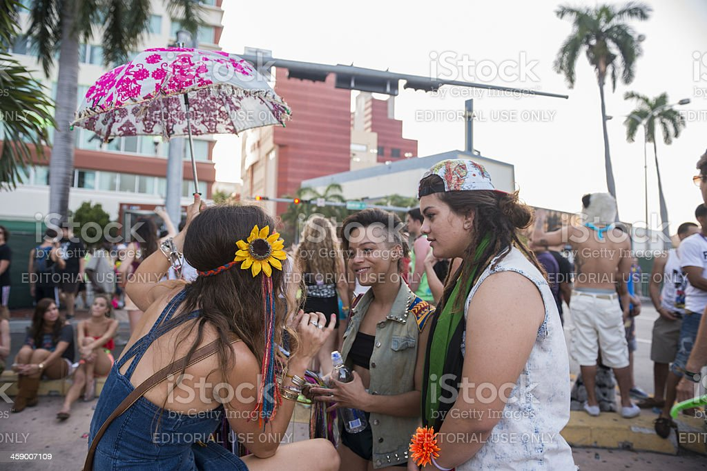 Miami Ultra Festival Girls Hang Out on Biscayne Boulevard Downtown royalty-free stock photo