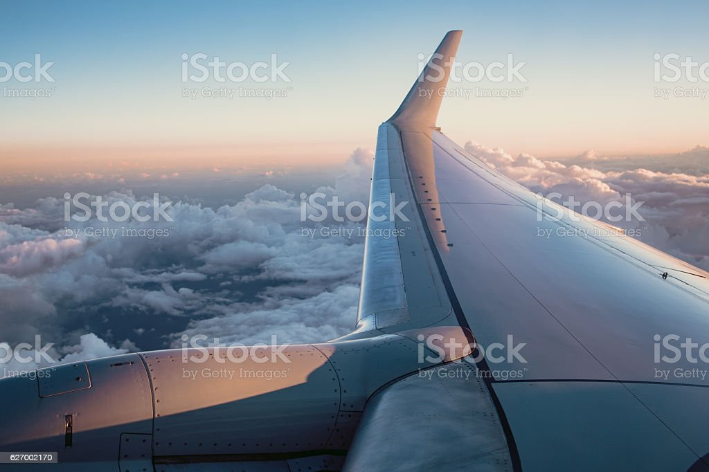 Miami View from the window of an airplane at night stock photo