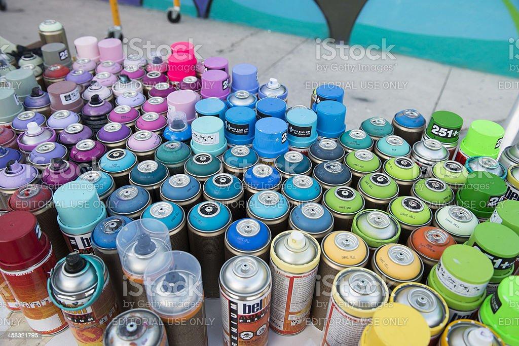 Miami Wynwood Rainbow Colors of Graffiti Art Spray Paint Cans royalty-free stock photo
