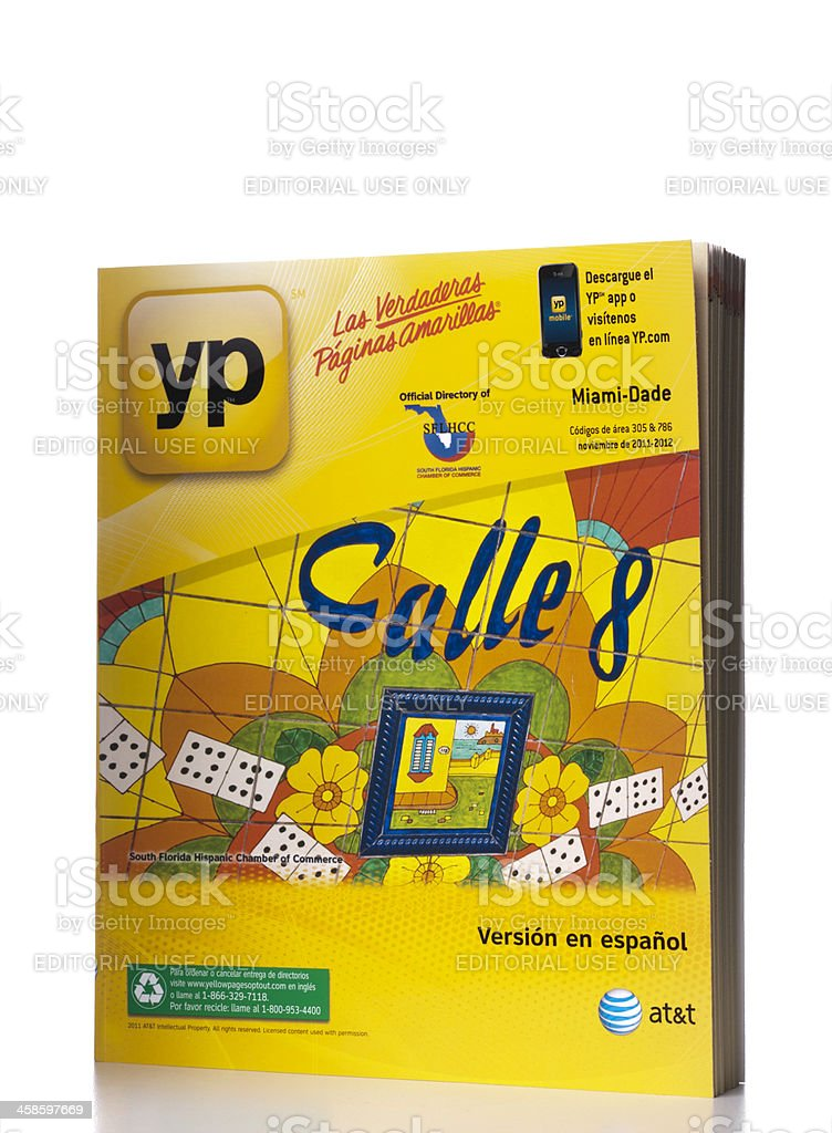 AT&T Miami-Dade County Yellow Pages in spanish stock photo