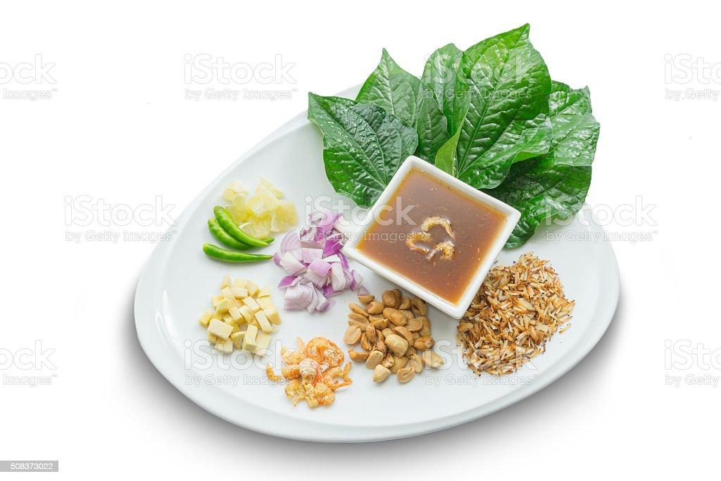 Miang Kham (Savoury Leaf Wraps) thai food stock photo