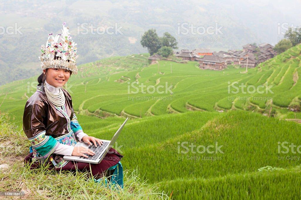 Miao Girl Use Laptop royalty-free stock photo