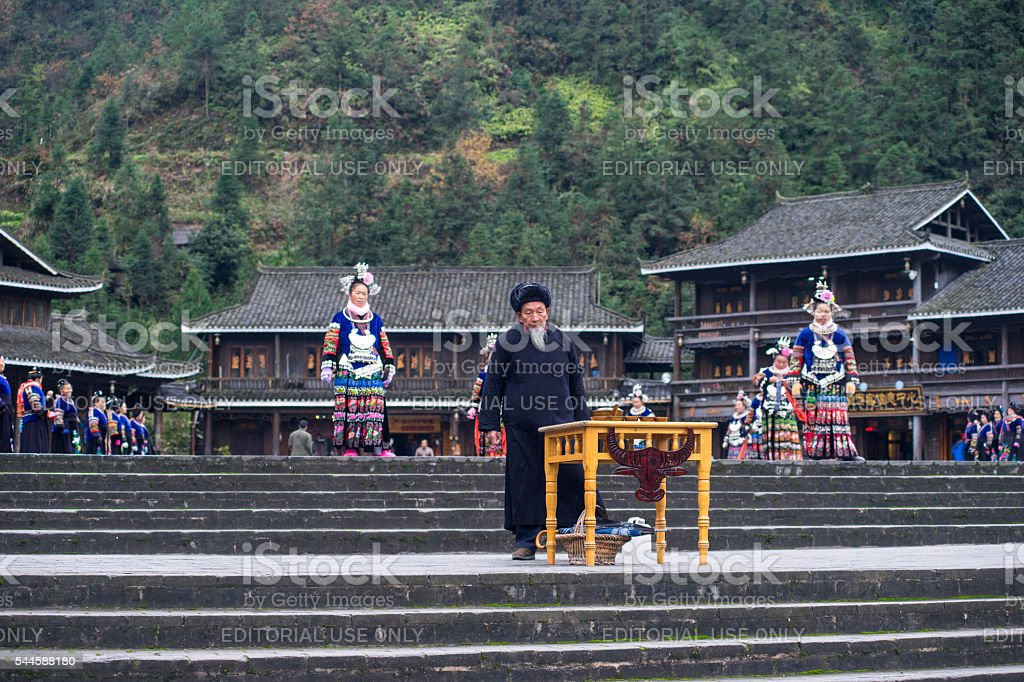 Miao people in the sacrifice show stock photo