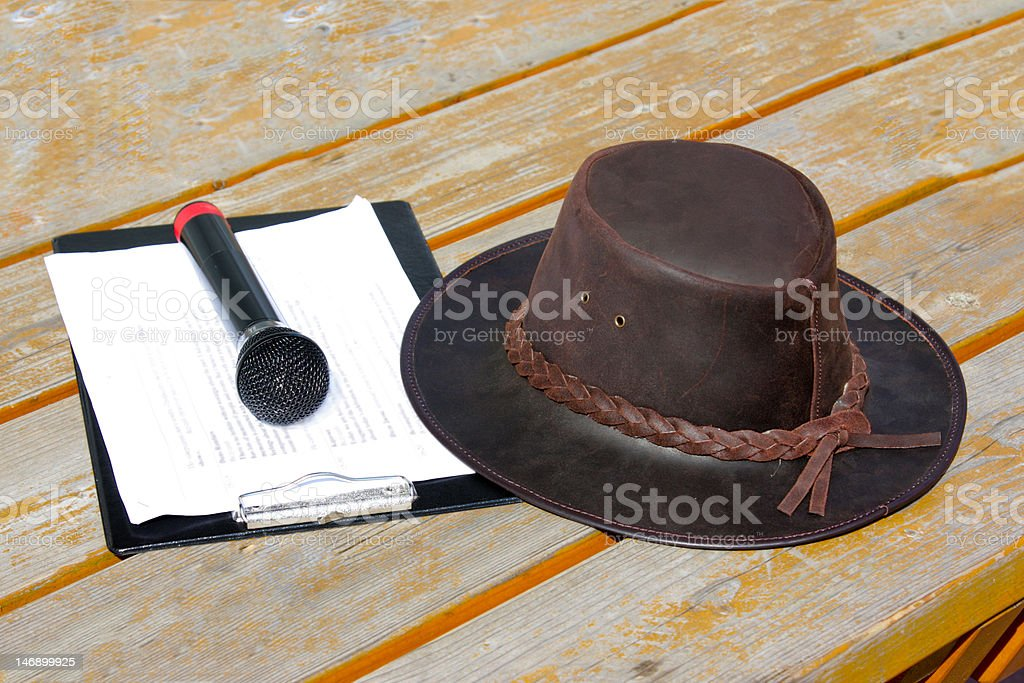 Mic and leather hat stock photo