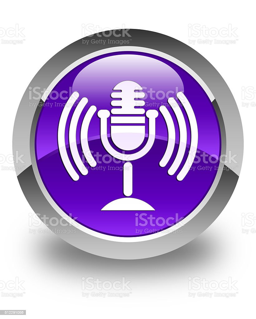 Mic icon glossy purple round button stock photo