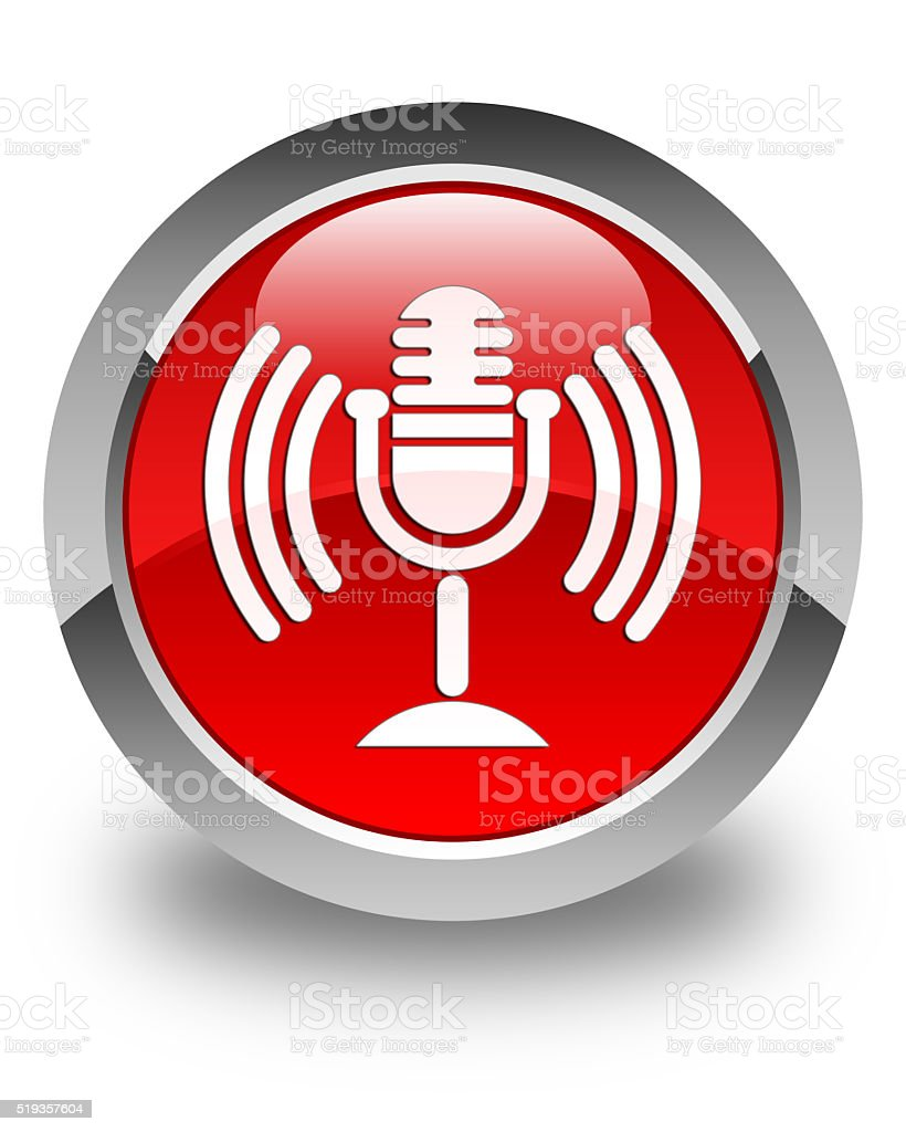 Mic icon glossy red round button stock photo