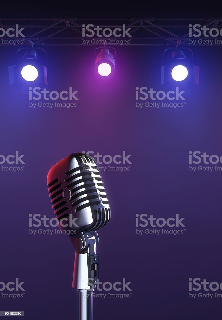Mic on stage stock photo