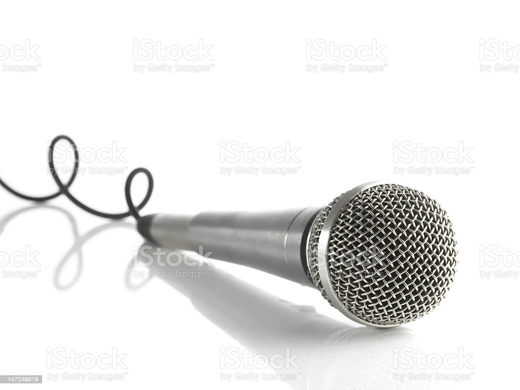Mic with curled cable royalty-free stock photo