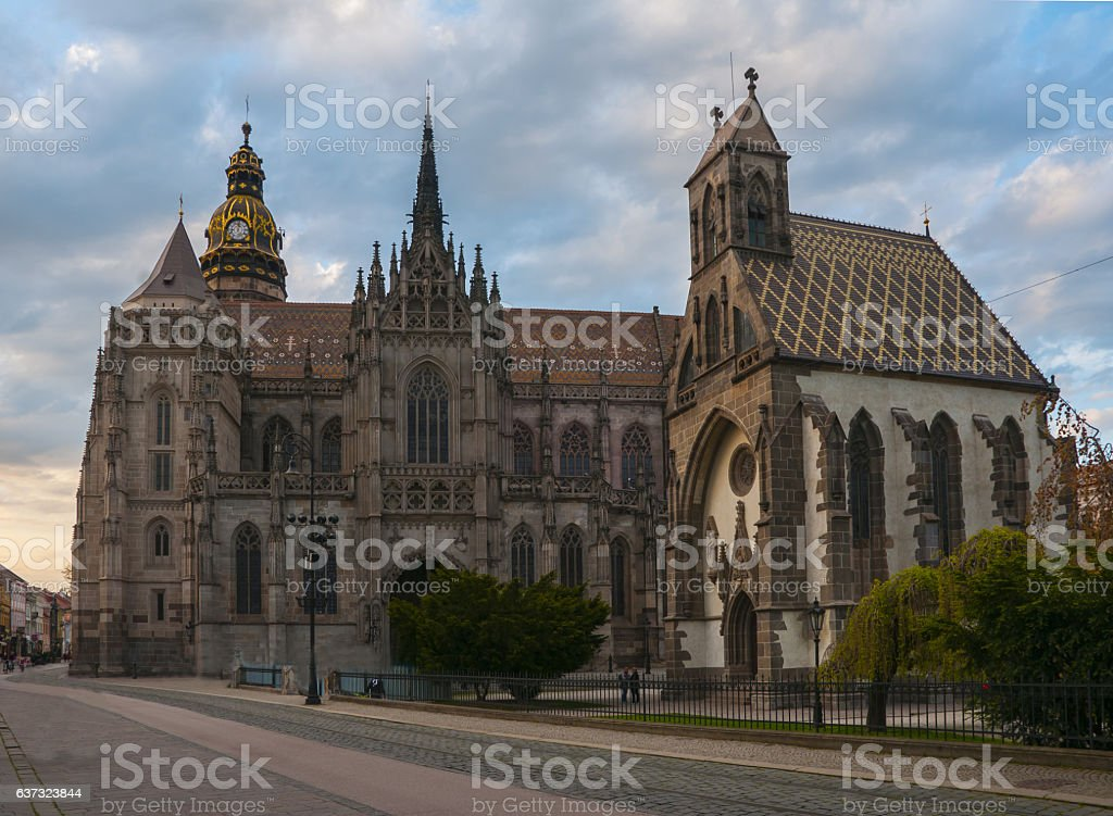 Michael chapel and St. Elisabeth cathedral in Kosice, Slovakia stock photo