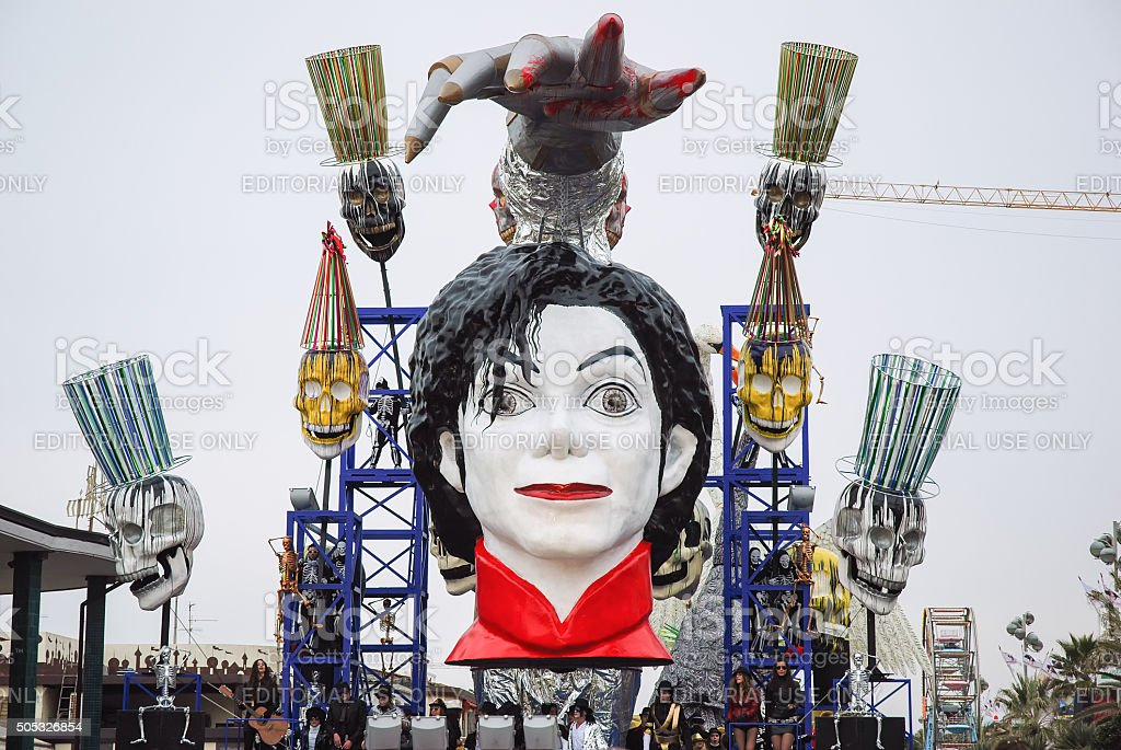 Michael Jackson in Parade float During The Carnival of Viareggio stock photo