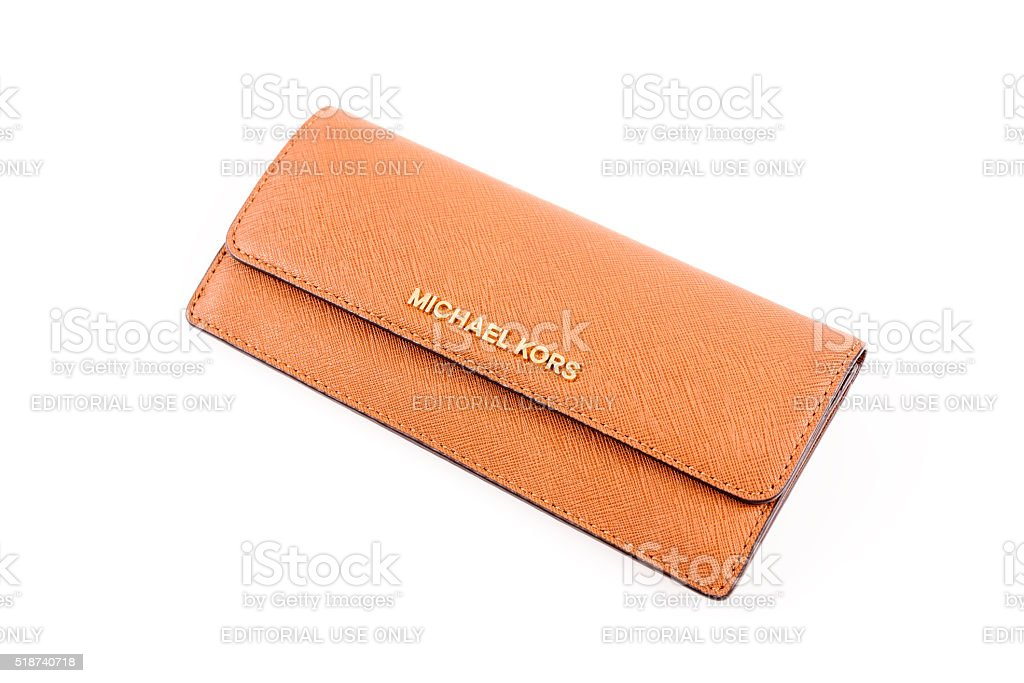 Michael Kors Leather Wallet Isolated On White stock photo