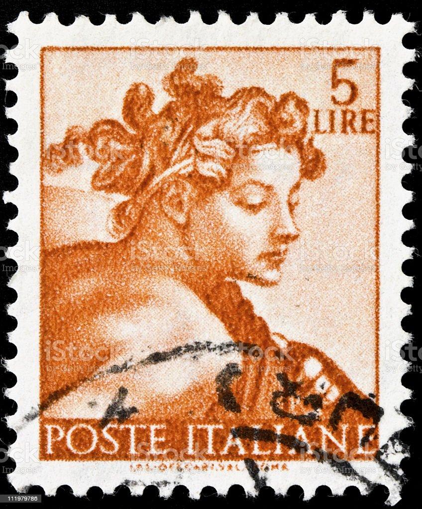 Michelangelo Sistine Chapel Postage Stamp royalty-free stock photo