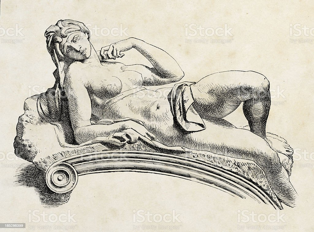 Michelangelo. Tomb of Giuliano de' Medici, Engraving royalty-free stock photo