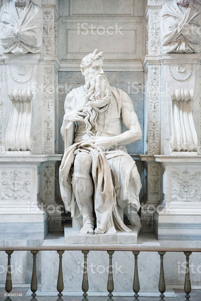 Michelangelo's Moses at San Pietro in Vincoli in Rome, Italy stock photo