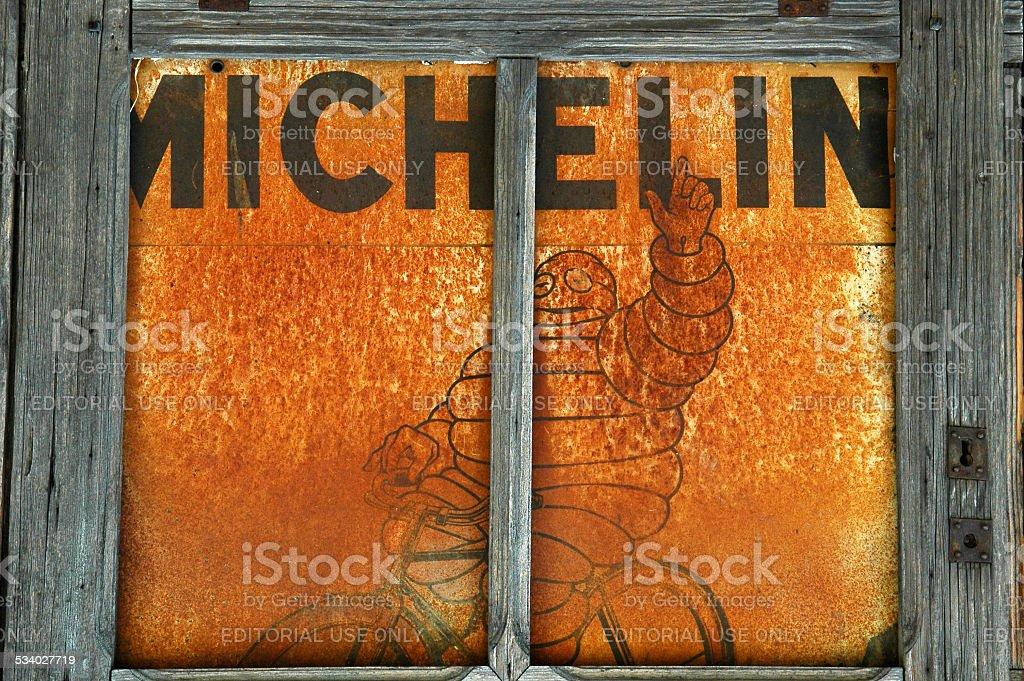Michelin man on a bike stock photo