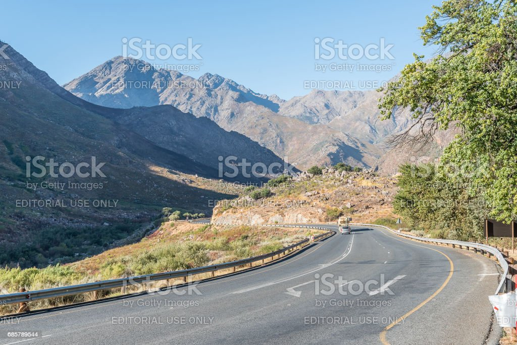 Michells Pass through the Winterhoek Mountains between Tulbach and Ceres stock photo