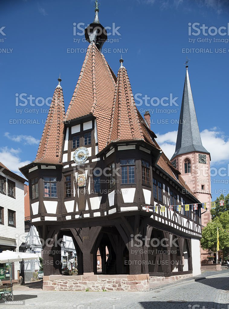Michelstadt, Old Town Hall, Altes Rathaus, Germany stock photo