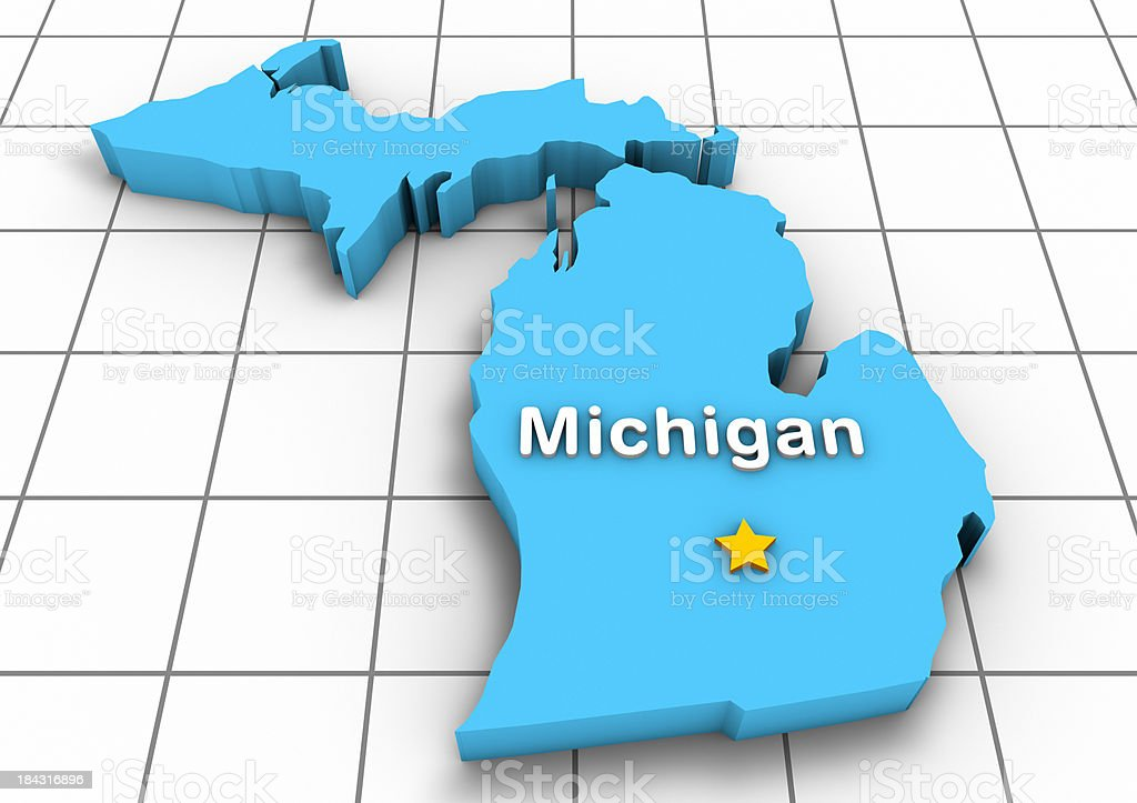 Michigan 3D State Map royalty-free stock photo