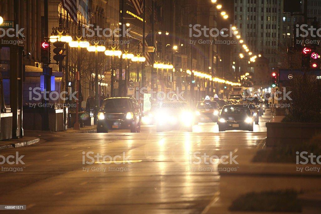 Michigan ave. at night stock photo