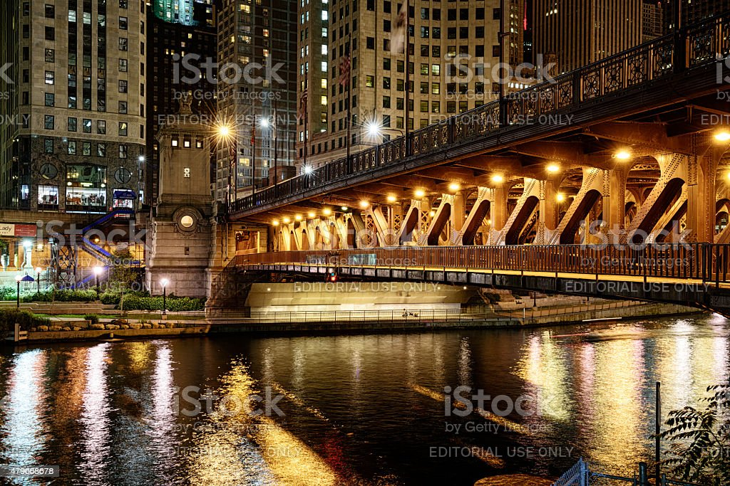 Michigan Avenue Bridge  across the Chicago River at night stock photo