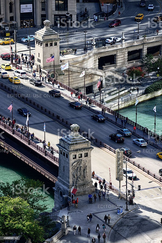 Michigan Avenue Bridge and bridgehouses, downtown Chicago, from stock photo
