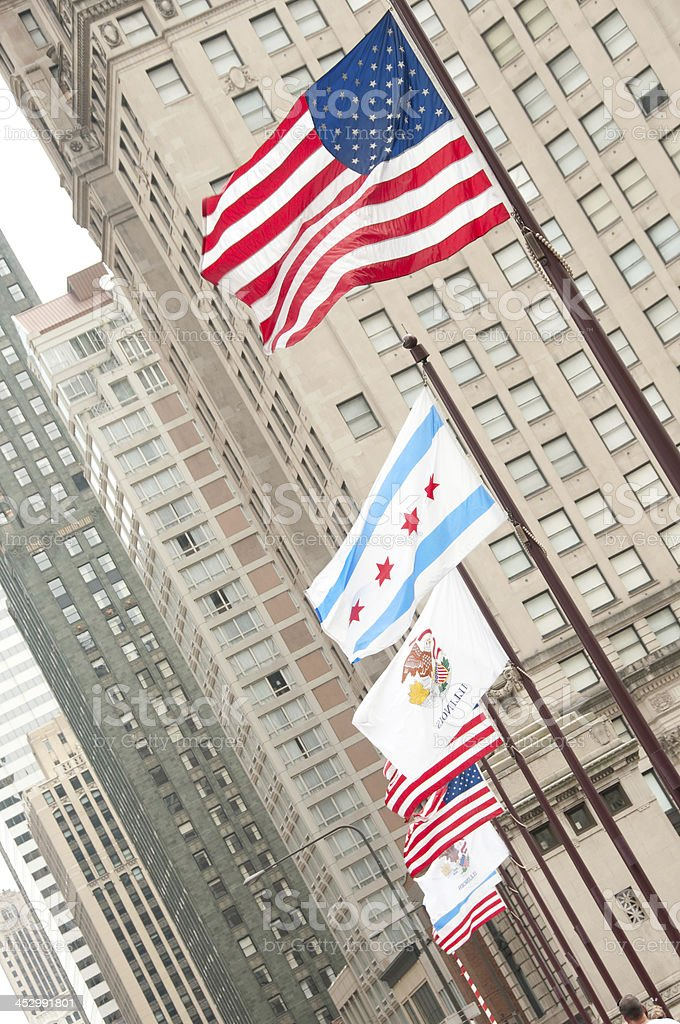 Michigan Avenue Bridge Flags royalty-free stock photo