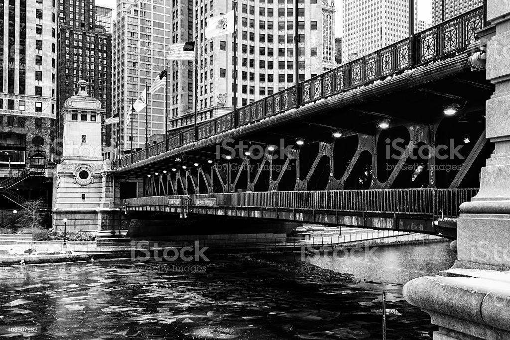 Michigan Avenue Bridge in Winter, downtown Chicago stock photo