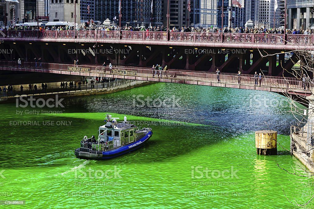 Michigan Avenue Bridge, Saint Patrcks Day, Chicago stock photo