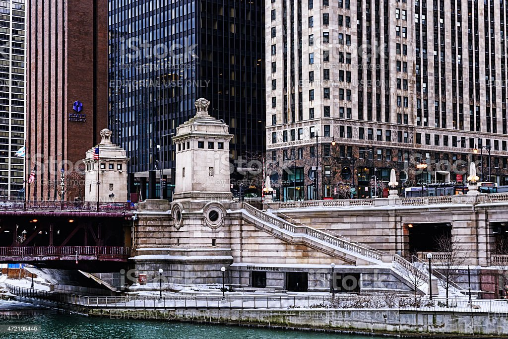 Michigan Avenue Bridgehouse in Winter, downtown Chicago stock photo