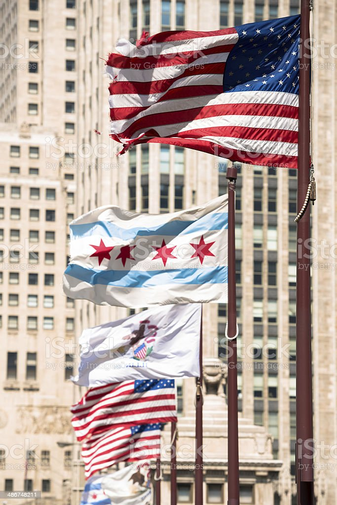 Michigan Avenue Flags stock photo