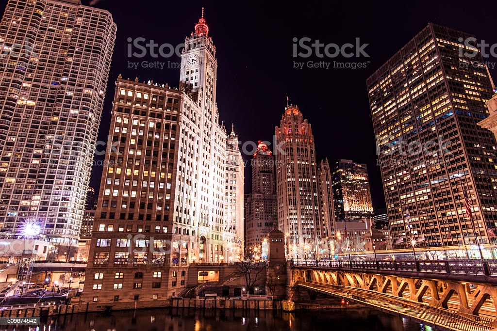Michigan Avenue in Downtown Chicago at Night stock photo
