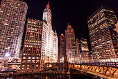 Michigan Avenue in Downtown Chicago at Night