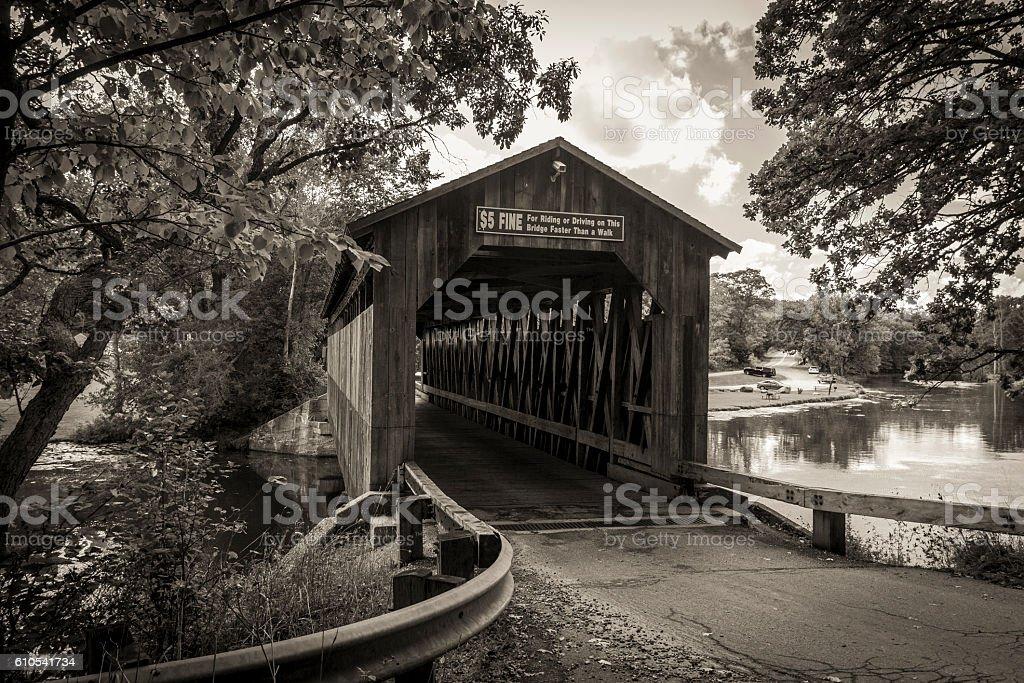 Michigan Historical Covered Bridge stock photo