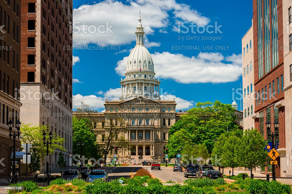 Michigan State Capitol and Downtown Lansing stock photo
