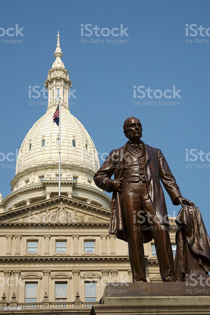 Michigan State Capitol Building With Statue stock photo