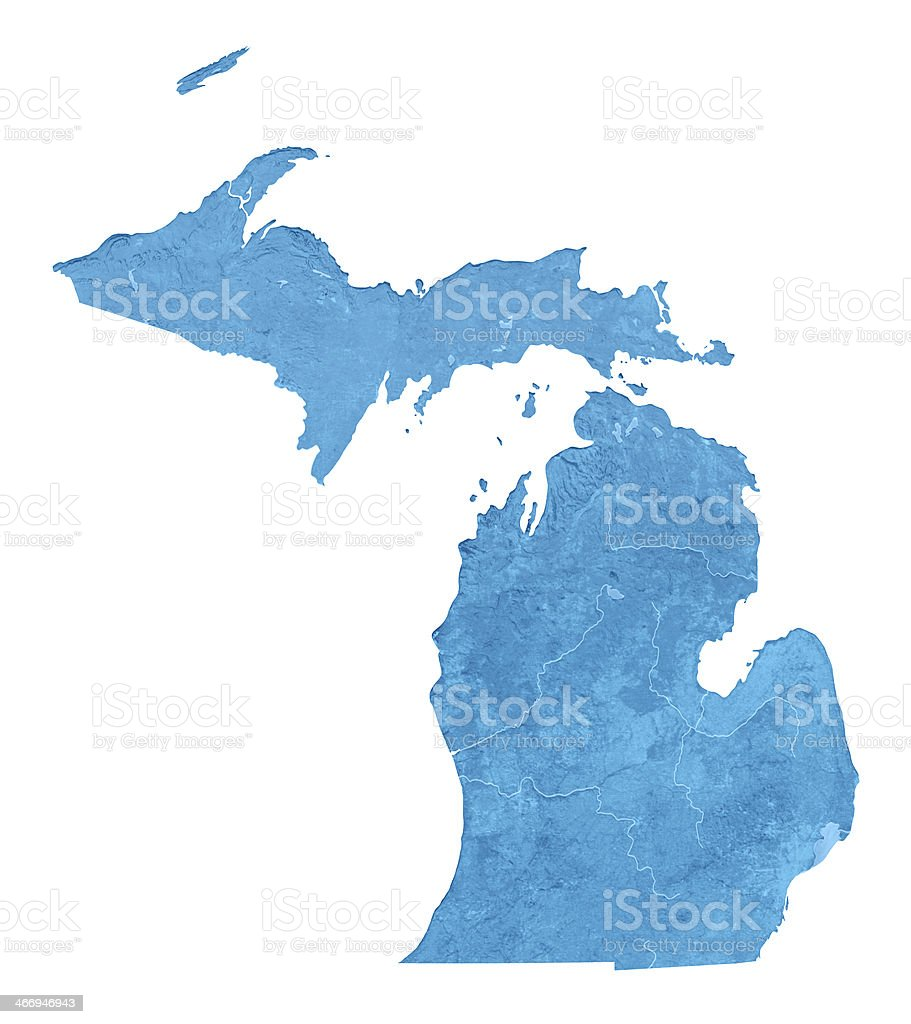 Michigan Topographic Map Isolated royalty-free stock photo