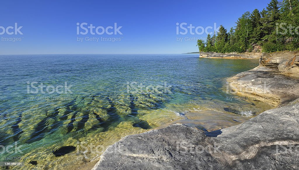 'Michigan's Caribbean' Pristine  waters of Lake Superior Pictured Rocks stock photo