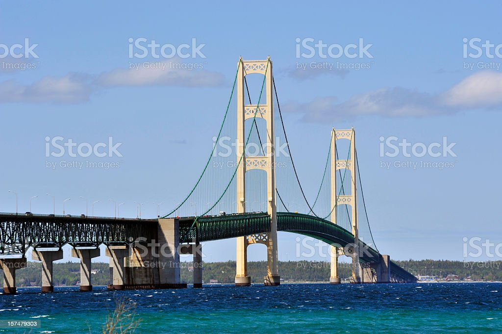 Michigan's curved Mackinac Bridge over beautiful blue water stock photo