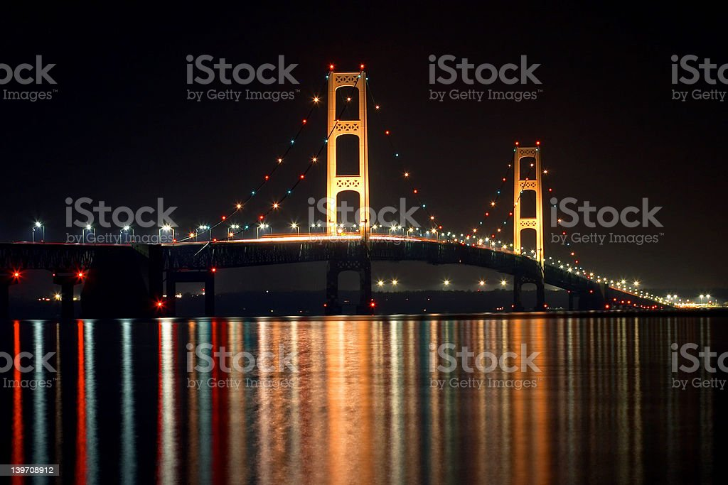 Michigan's Mackinac Bridge at Night royalty-free stock photo