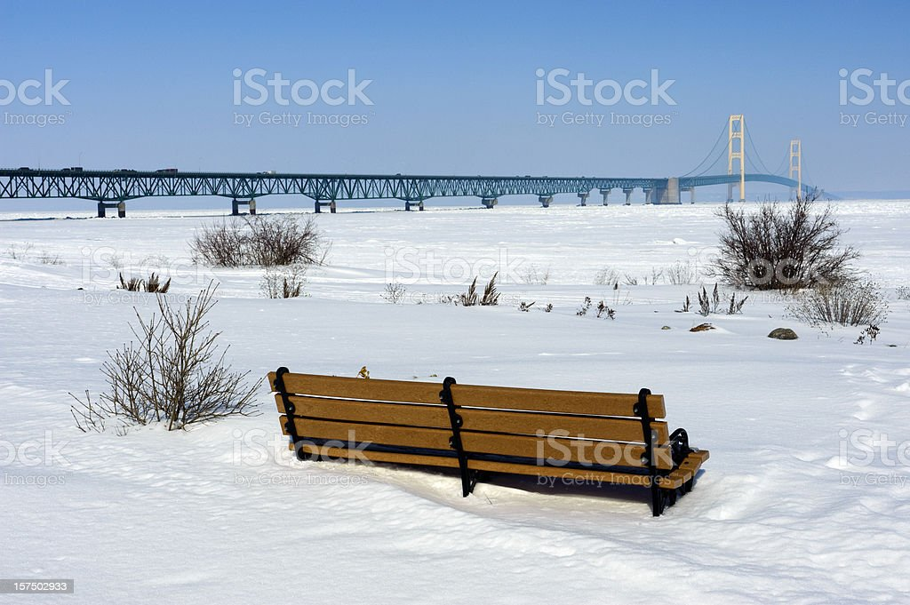 Michigan's Mackinac Bridge in winter royalty-free stock photo