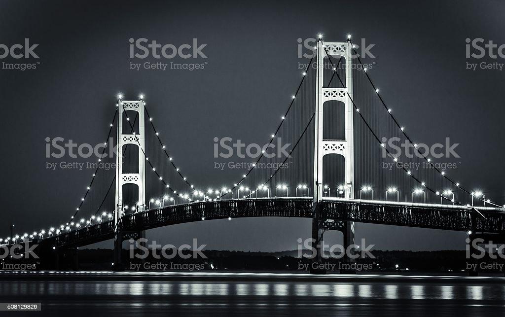 Michigan's Mackinaw Bridge Illuminated At Night stock photo