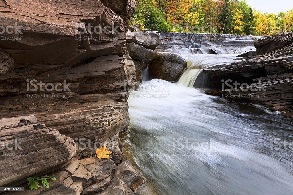 Michigan's Upper Peninsula Bonanza Falls in Autumn stock photo