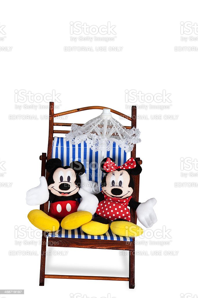 Mickey and Minnie Mouse on Beach Chairs stock photo