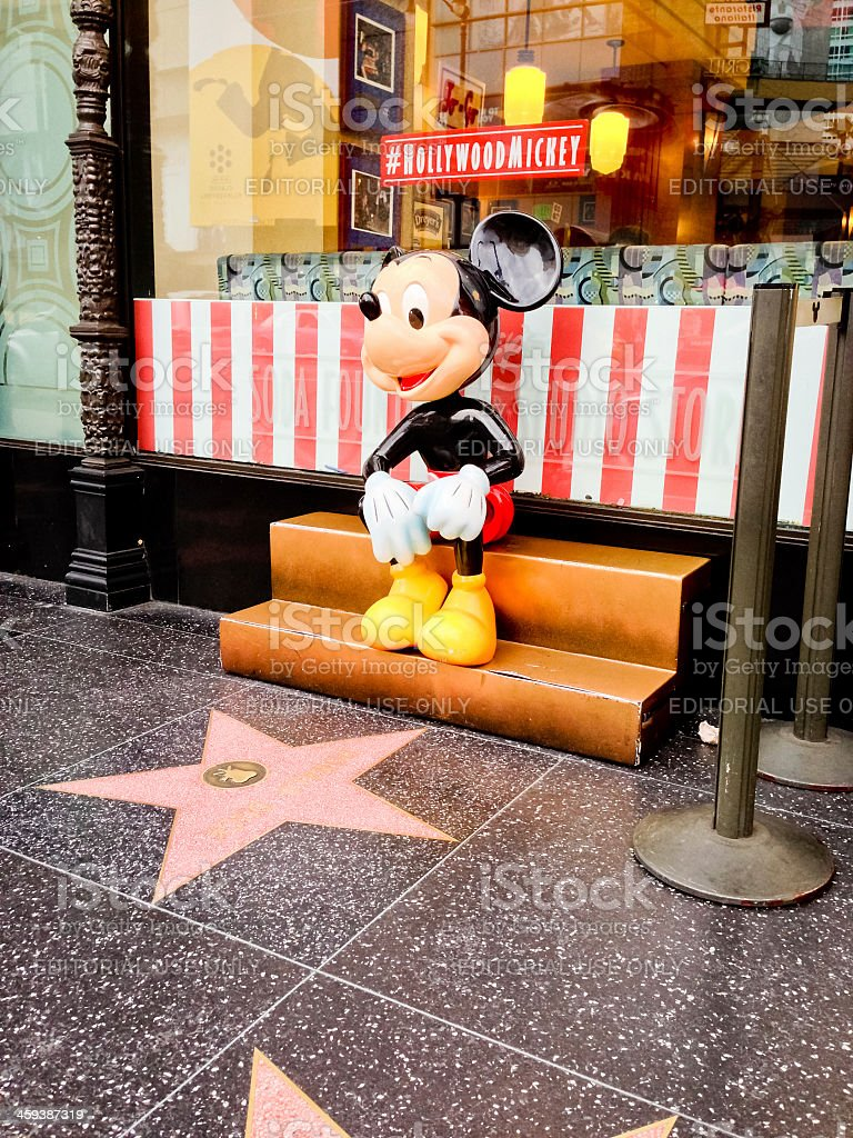 Mickey Mouse sitting on a bench, Hollywood Boulevard stock photo