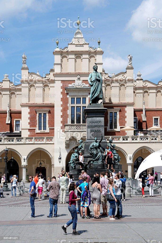 Mickiewicz Monument of Krakow in Poland stock photo