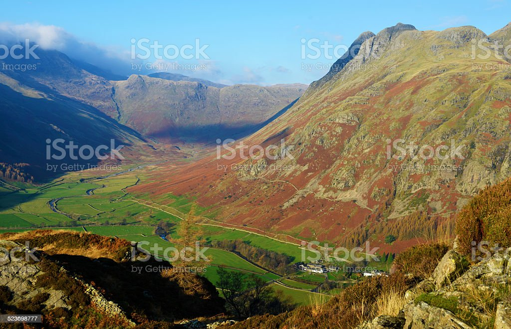 Mickleden Glacial Valley and Langdales stock photo