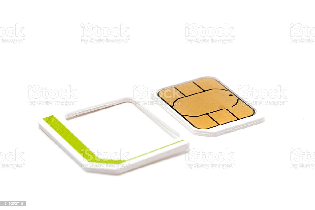 micro nano simcard isolated on white background stock photo