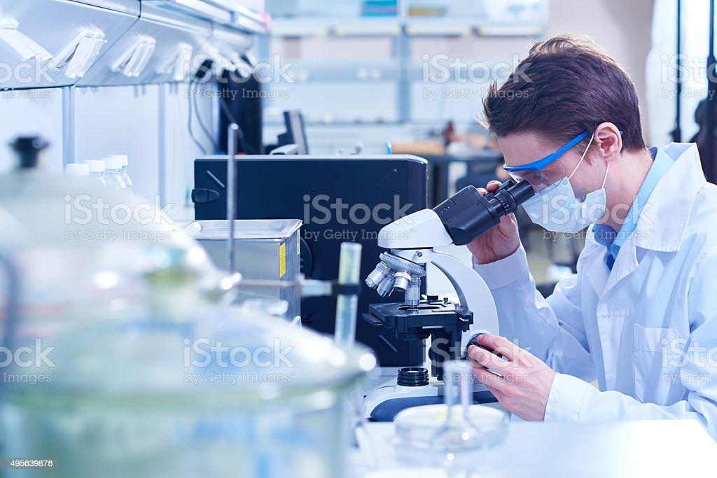 Microbiological analysis stock photo