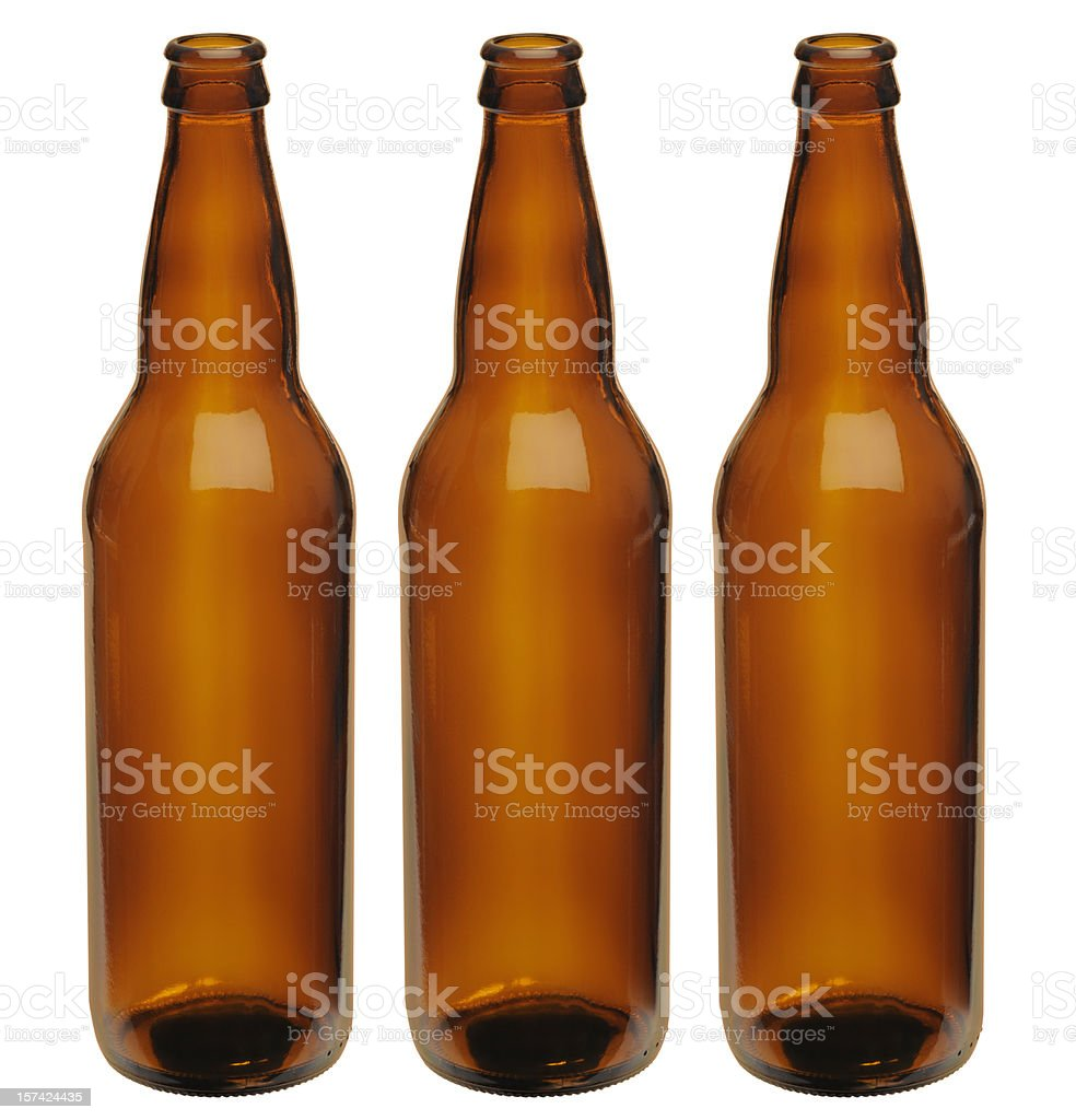 Microbrewer; Three Perfect Unlabeled Generic Brown Beer Bottles, Clipping Path royalty-free stock photo